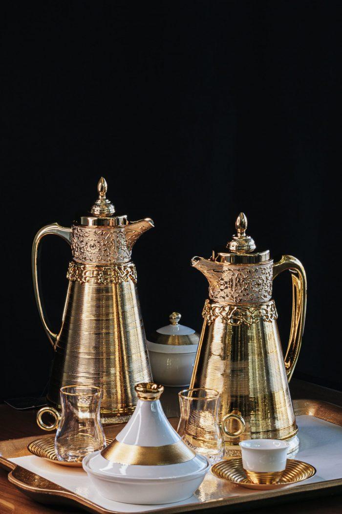 Minimalist Golden White Coffee Set